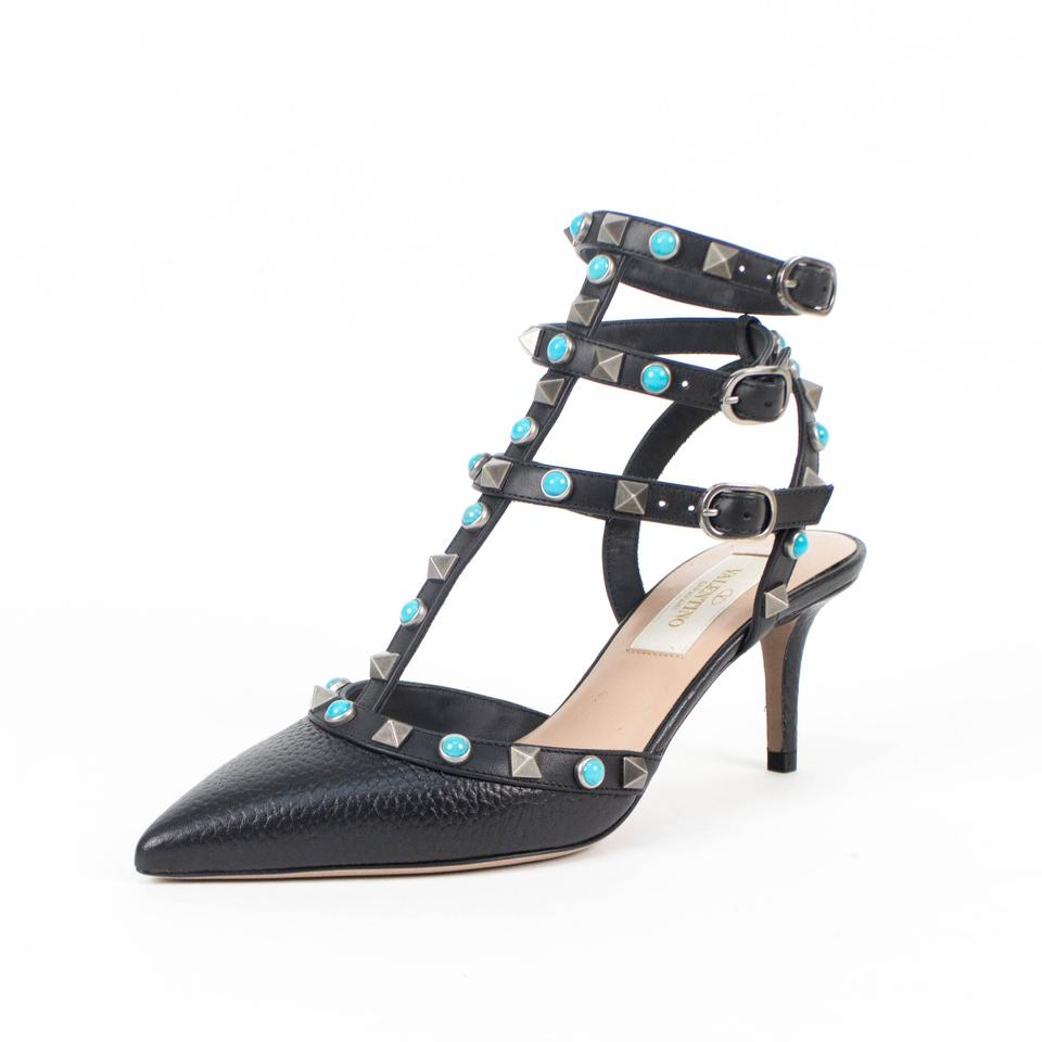 Valentino Black Leather Rockstud Rolling Turquoise Stone Pointed Toe Heel  Pumps