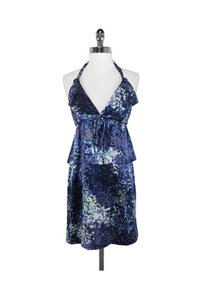 Edun short dress blue Galaxy Print Silk Halter on Tradesy