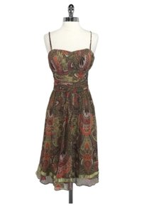 Ted Baker short dress Green Silk Olive Paisley on Tradesy