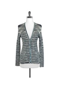 Missoni M Striped Metallic Button Up Cardigan Button Down Shirt blue