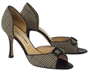 Manolo Blahnik Houndstooth Wool Leather D'orsay brown Pumps