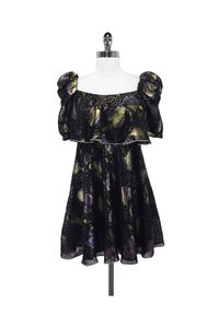 Jill Stuart short dress black Metallic Floral Print Peasant Style on Tradesy
