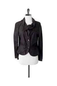 Armani Collezioni Deep Taupe Goat Suede Ruffled brown Jacket