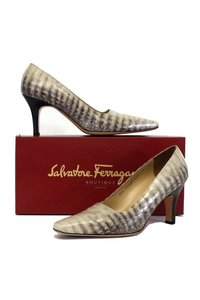 Salvatore Ferragamo Ravenna Croc Print Leather brown Pumps
