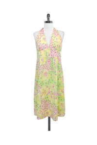 Lilly Pulitzer short dress yellow Floral Print Cotton Halter on Tradesy