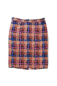 J.Crew Collection Multicolor Print Silk Pencil Skirt Tan