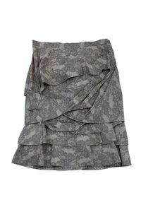 Peter Som Grey Taupe Twisted Ruffle Skirt
