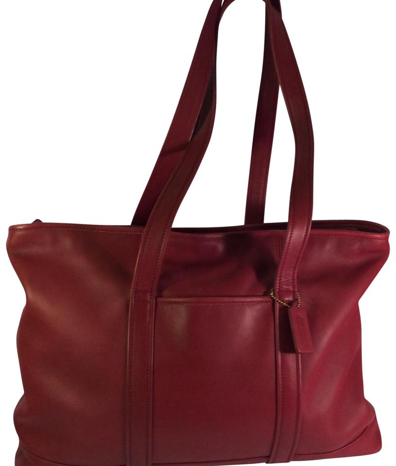 Coach Bag Laptop Work Red Leather Tote
