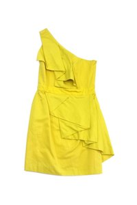 Shoshanna short dress Yellow One Shoulder Cotton Silk on Tradesy