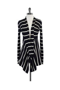 Autumn Cashmere Cotton By Navy White Striped Cardigan