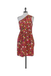 Shoshanna short dress Multicolor Floral Print Silk One Shoulder on Tradesy