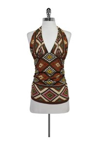 Nicole Miller Aztec Print Silk Orange Halter Top