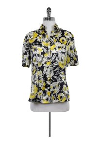 Lafayette 148 New York Multicolor Printed Floral Top Yellow