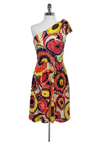 Trina Turk short dress Yellow / Multi One Shoulder Floral on Tradesy