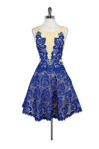 Forever Unique short dress Blue Cobalt Nude Lace Overlay Flared on Tradesy