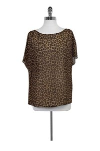 Nieves Lavi Leopard Print Short Sleeve Top brown