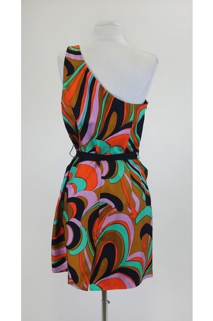 MILLY short dress brown Marble Print One Shoulder on Tradesy