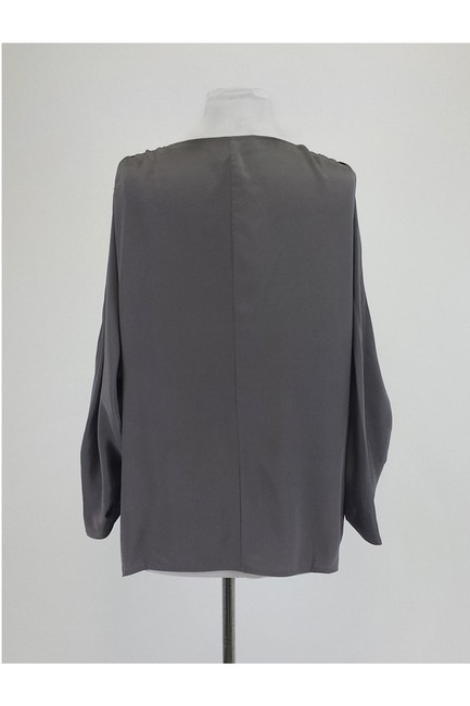 BCBGMAXAZRIA Grey W/ Ruched Sleeves Top