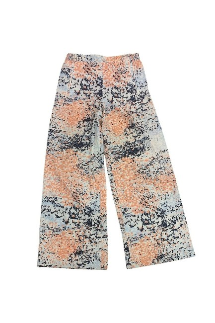BCBGMAXAZRIA Cream Light Blue Printed Straight Pants Orange