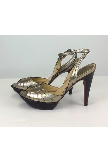 Cole Haan Woven Leather Ankle Strap Heels gold Pumps