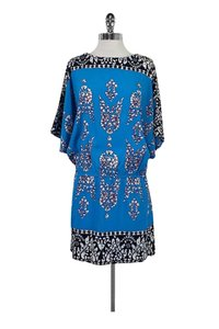 Nicole Miller short dress Blue Bright Patterned Cutout Sleeves on Tradesy