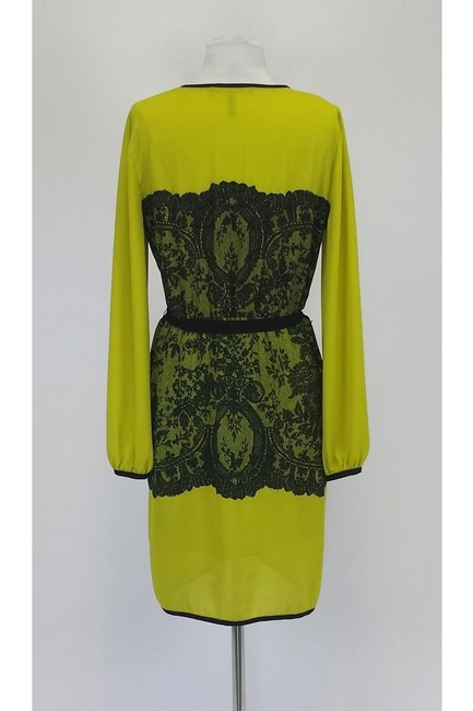 BCBGMAXAZRIA short dress Neon Yellow Long Sleeve W/ Lace Print on Tradesy