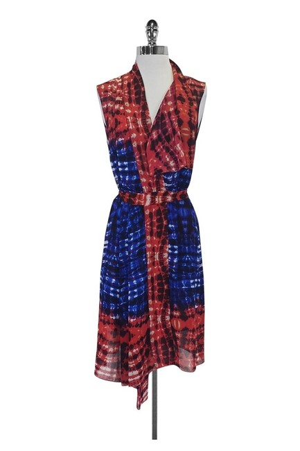 Item - Blue Red Short Casual Dress Size 4 (S)