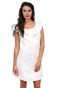 She + Sky short dress white Waves Ruffle Neck on Tradesy