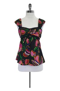 Marc Jacobs Printed W/ Ruffle Detail Top Black