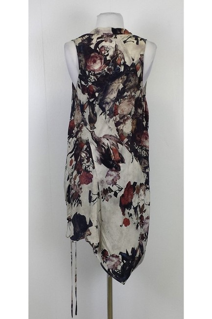 AllSaints short dress Taupe Floral Printed Asymmetrical on Tradesy