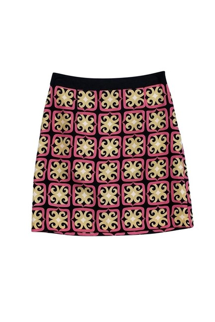 MILLY Black Printed Mini Skirt Gold