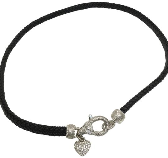 Preload https://item3.tradesy.com/images/judith-ripka-black-leather-17-cz-pave-heart-sterling-silver-necklace-23174337-0-1.jpg?width=440&height=440