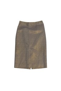 Ports 1961 Opal Gold Lavender Scalloped Print Pencil Skirt
