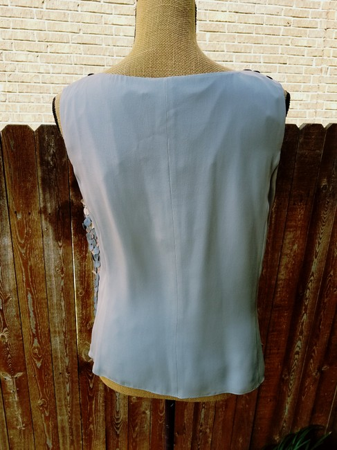 Ellen Tracy Shimmers Leather Circles Evening Silver Faux Leather Top Mercury
