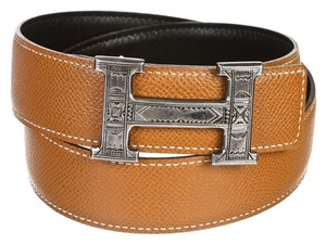 Hermès Hermes Brown Epsom and Swift Leather Touareg Constance H Belt (Size 65)
