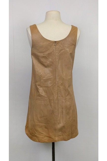 Vince short dress Tan Leather Shift on Tradesy