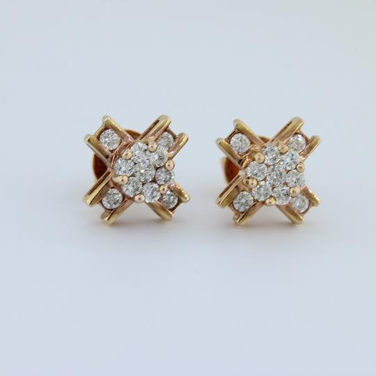 Ali1 Solid Custom Made 14k Rose Gold Round Brilliant Cut Diamonds Earrings