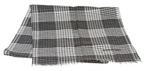 Tom Ford Tom Ford Gray and White Plaid Fringe Cashmere Scarf