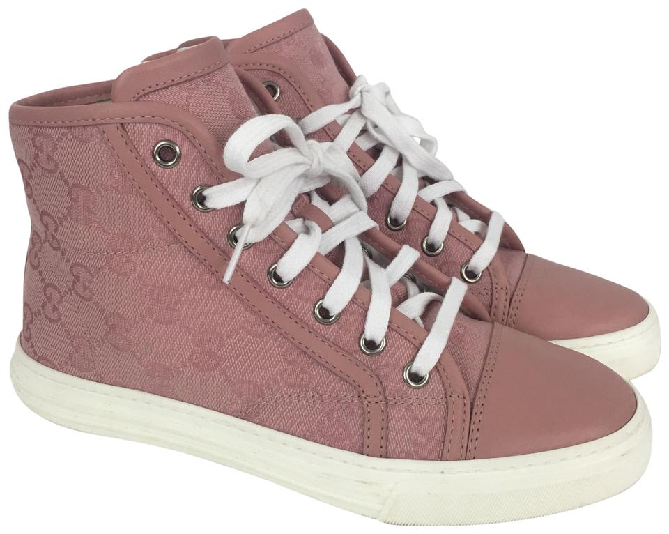 1ae169cdcb2 Gucci Pink 34.5 Women s Rose Signature High Top Sneakers Sneakers ...