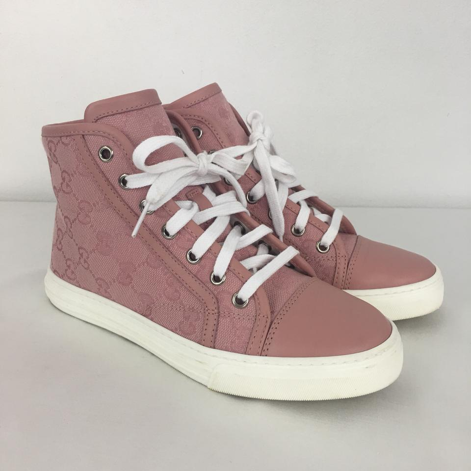 ccb42881af07 Gucci Pink 34.5 Women s Rose Signature High Top Sneakers Sneakers ...