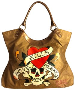 Ed Hardy Tote in Tan, Red, White, Black
