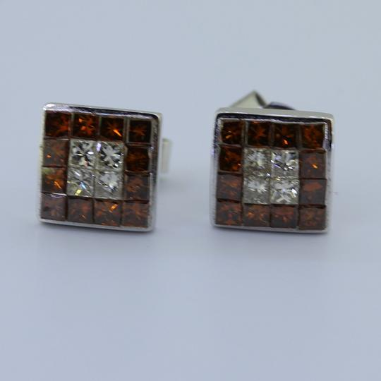 Ali1 Ladies 14k White Gold Deep Red Princess Cut Diamond Screw Back Earring