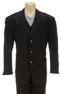 Austin Taylor Austin Taylor Platinum Black Pin Stripe Three Piece Suit (Size L)