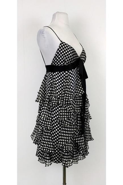 MILLY short dress Black Polka Dot Ruffle on Tradesy