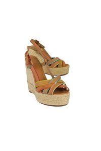 Kate Spade Rainbow Trim Tan Wedges