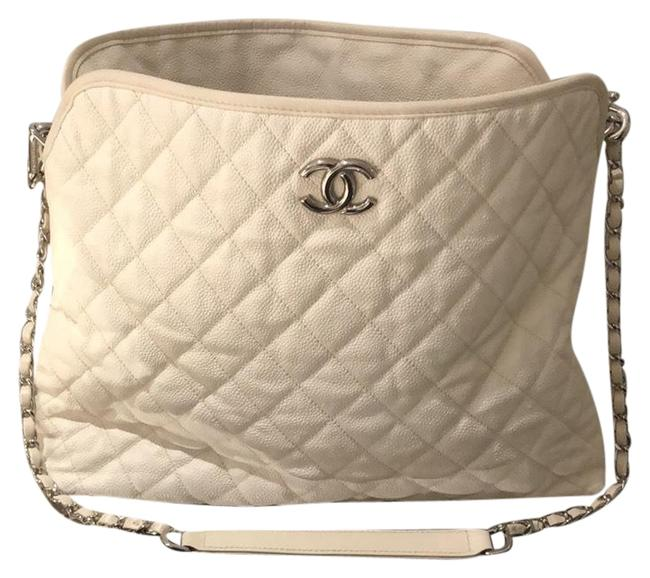 Item - Hobo Bag Silver Hardware Off White Leather Tote