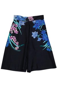 Dries van Noten Floral Silk Dress Shorts Black
