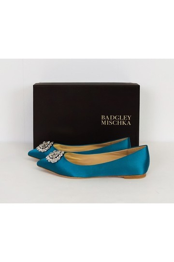Badgley Mischka Teal Satin Flats
