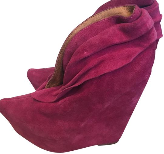 Jeffrey Campbell Leather Suede Wedges Zoomie Fushia / Magenta Platforms