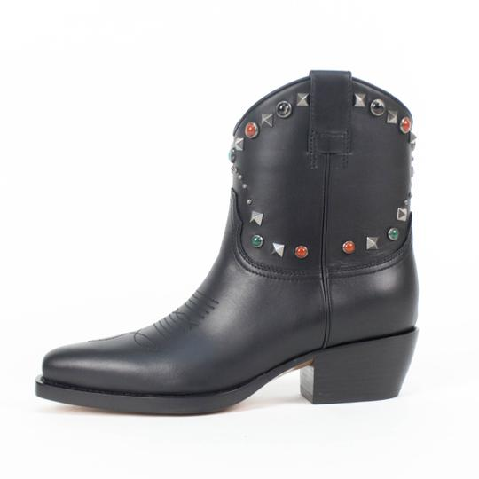 Valentino Leather Rockstud Multiple Stone Cowboy Western Black Boots